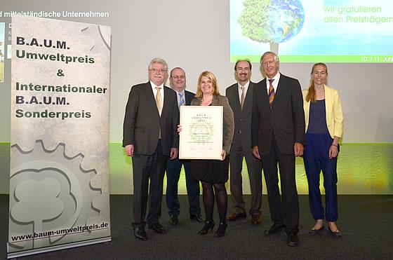Martin Zeil (Stellvertretender Ministerpräsident und Wirtschaftsminister Bayern), Dieter Brübach (Mitglied des B.A.U.M.-Vorstands), Dagmar Fritz-Kramer (Firmenchefin Bau-Fritz GmbH u. Co. KG), Martin Oldeland (Mitglied des B.A.U.M.-Vorstands), Prof. Dr. Maximilian Gege (B.A.U.M.-Vorsitzende), Kristina Kara (Mitglied des B.A.U.M.-Vorstands)
