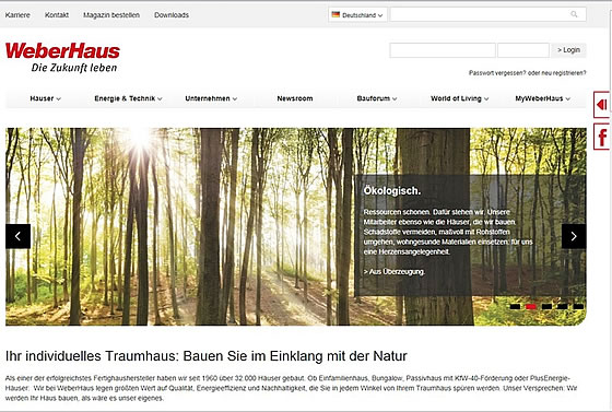 Die neue Website von WeberHaus - Screen: WeberHaus