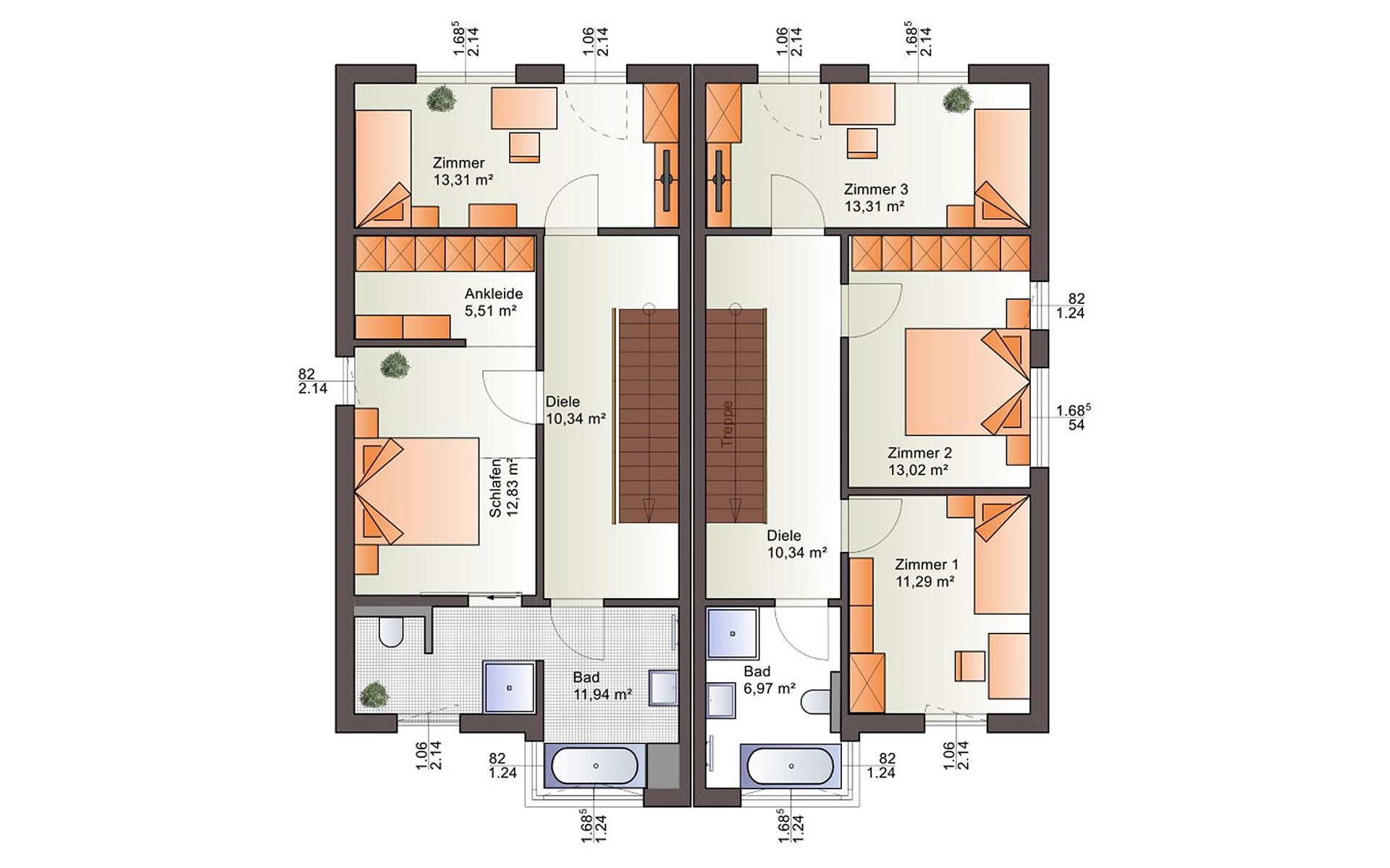Obergeschoss Duo 160 von Bärenhaus - das fertige Haus GmbH
