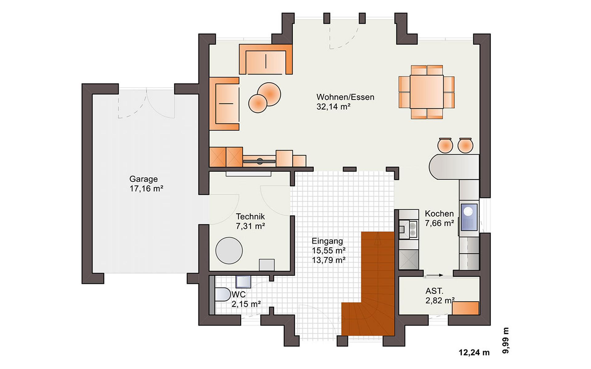 Erdgeschoss Eos 161 von Bärenhaus - das fertige Haus GmbH