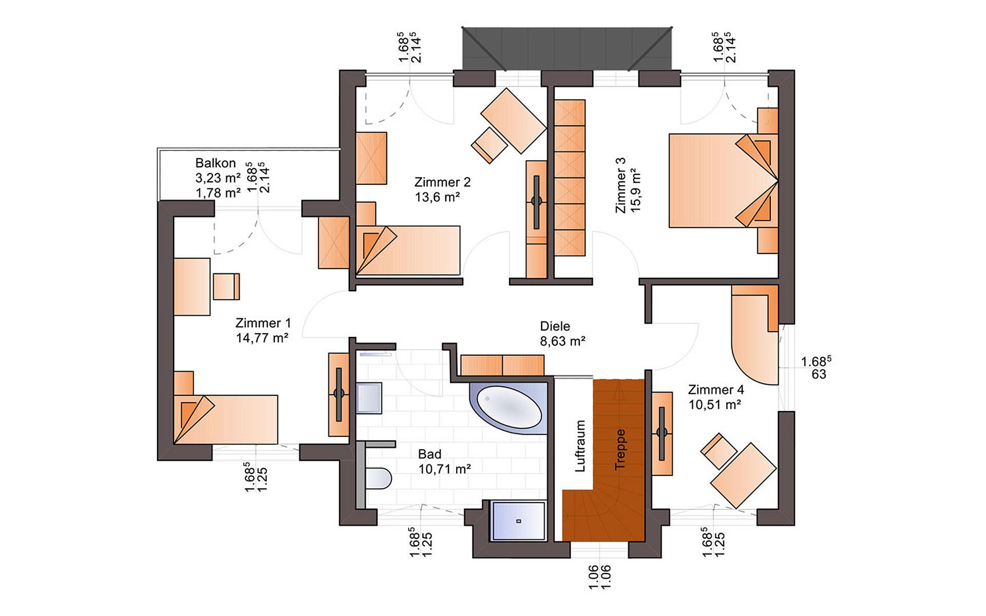 Obergeschoss Eos 161 von Bärenhaus - das fertige Haus GmbH
