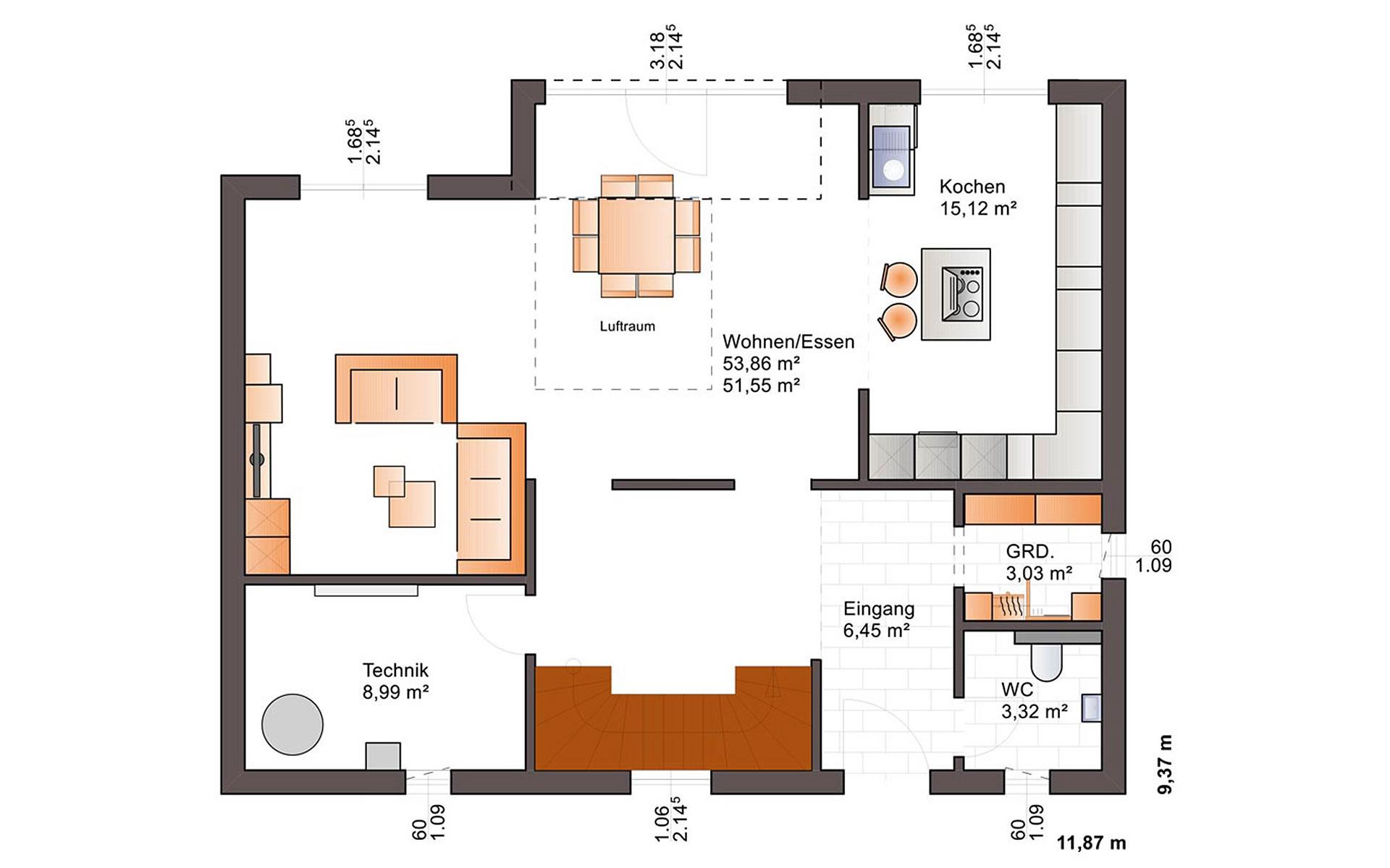 Erdgeschoss Eos 170 von Bärenhaus - das fertige Haus GmbH