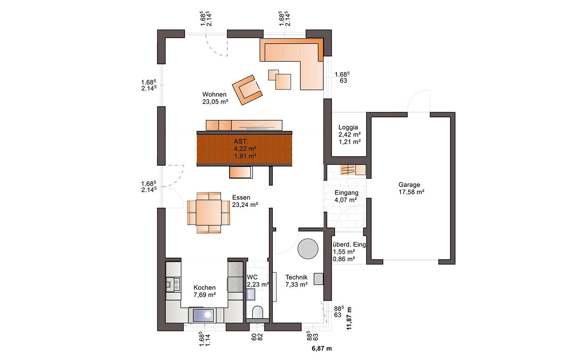 Erdgeschoss Eos 176 von Bärenhaus - das fertige Haus GmbH