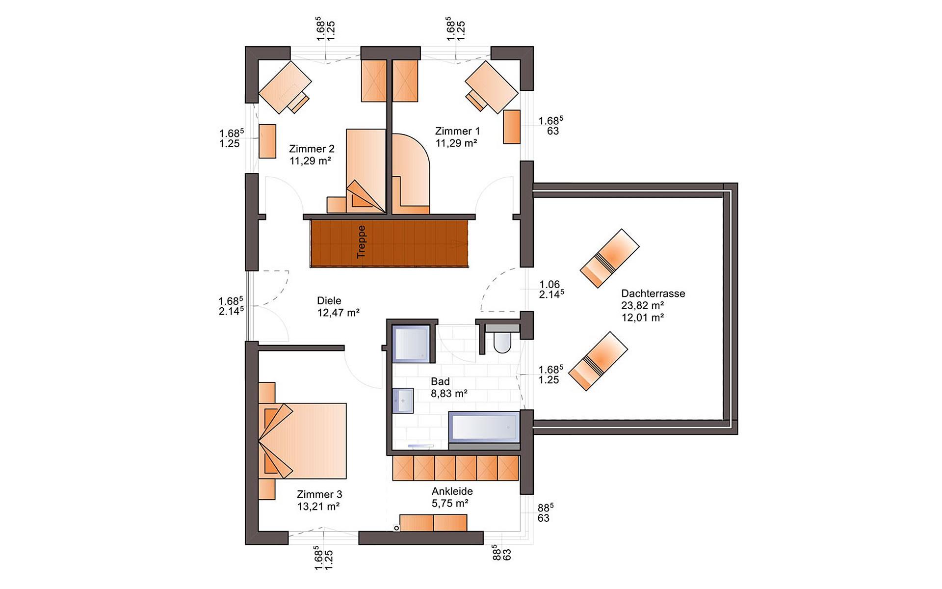 Obergeschoss Eos 176 von Bärenhaus - das fertige Haus GmbH