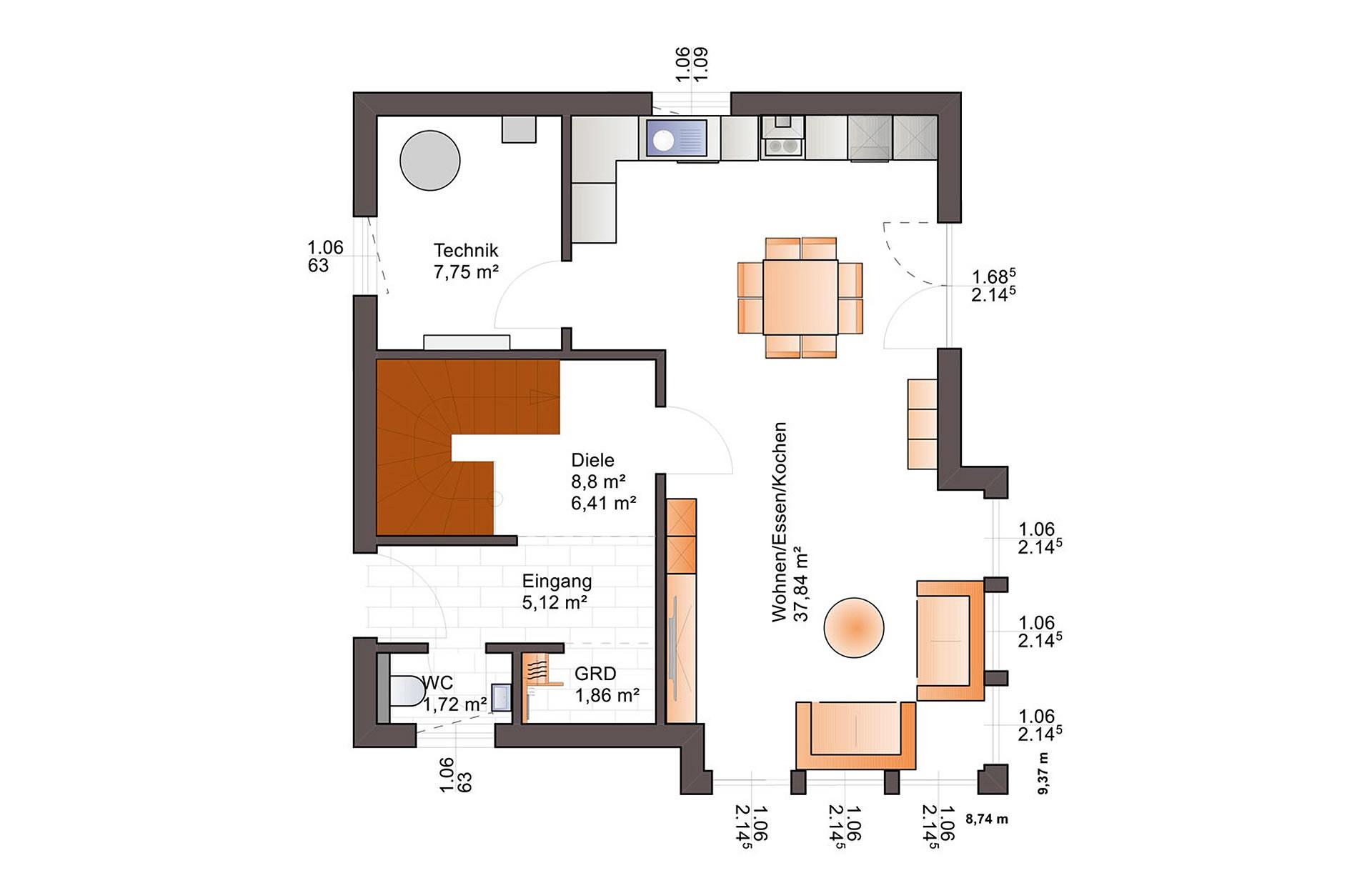 Erdgeschoss Esprit 117 von Bärenhaus - das fertige Haus GmbH