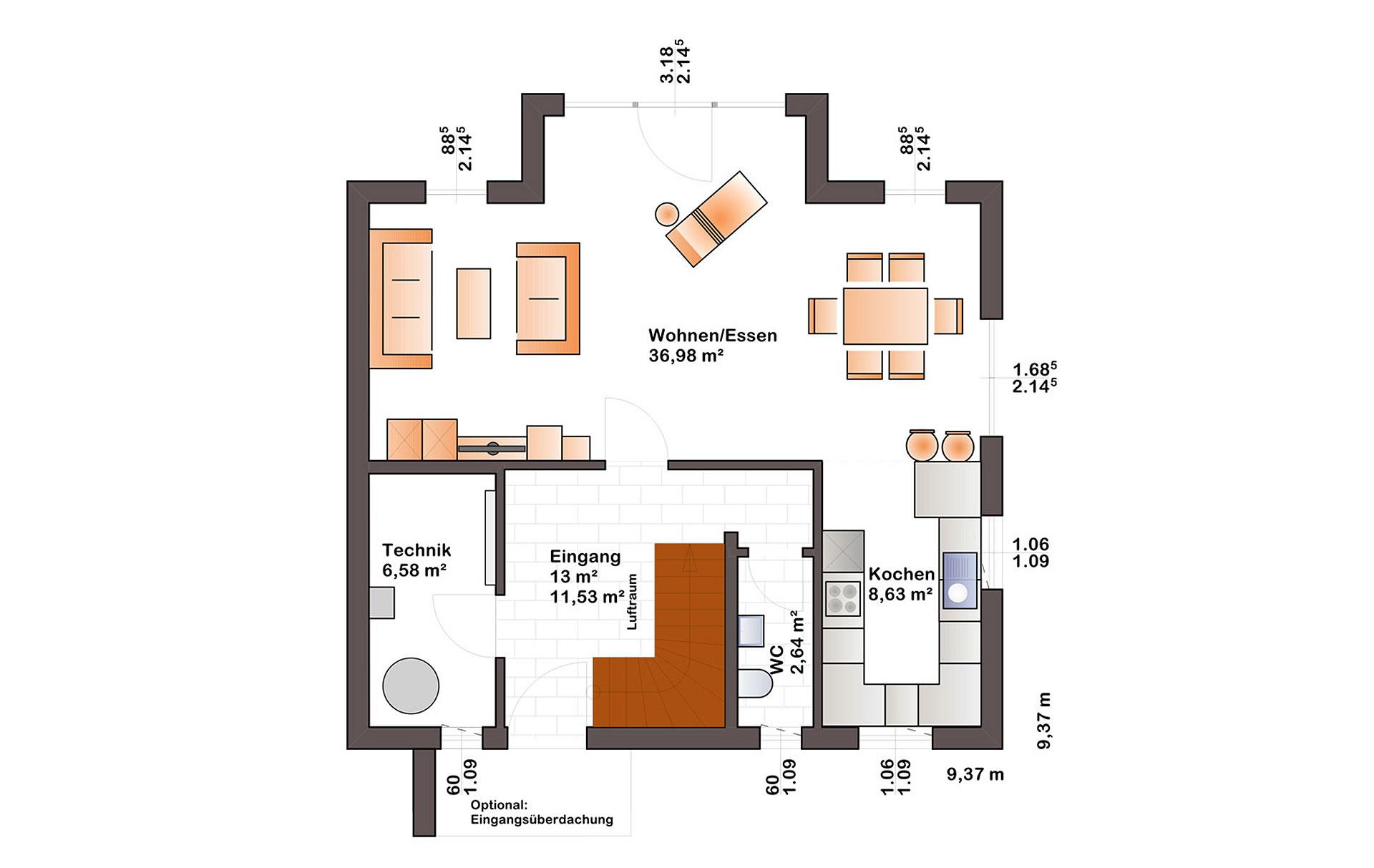 Erdgeschoss Esprit 125 von Bärenhaus - das fertige Haus GmbH