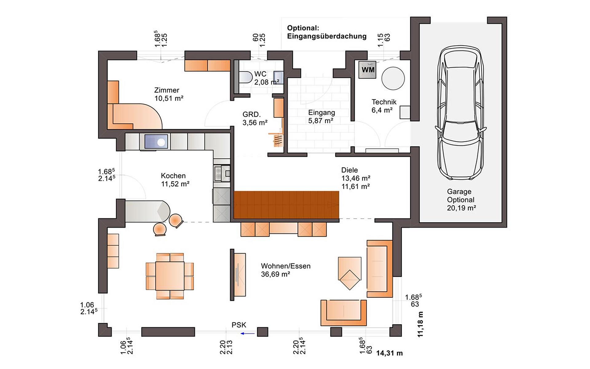 Erdgeschoss Fine Arts 163 von Bärenhaus - das fertige Haus GmbH