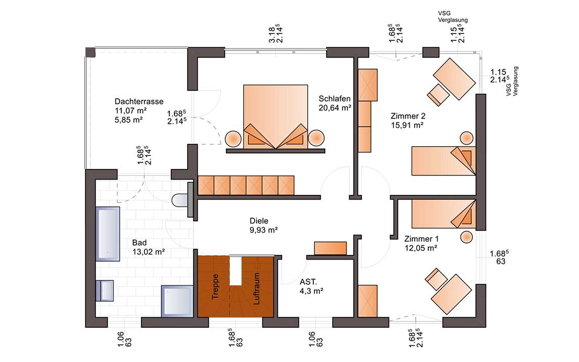 Obergeschoss Fine Arts 169 von Bärenhaus - das fertige Haus GmbH