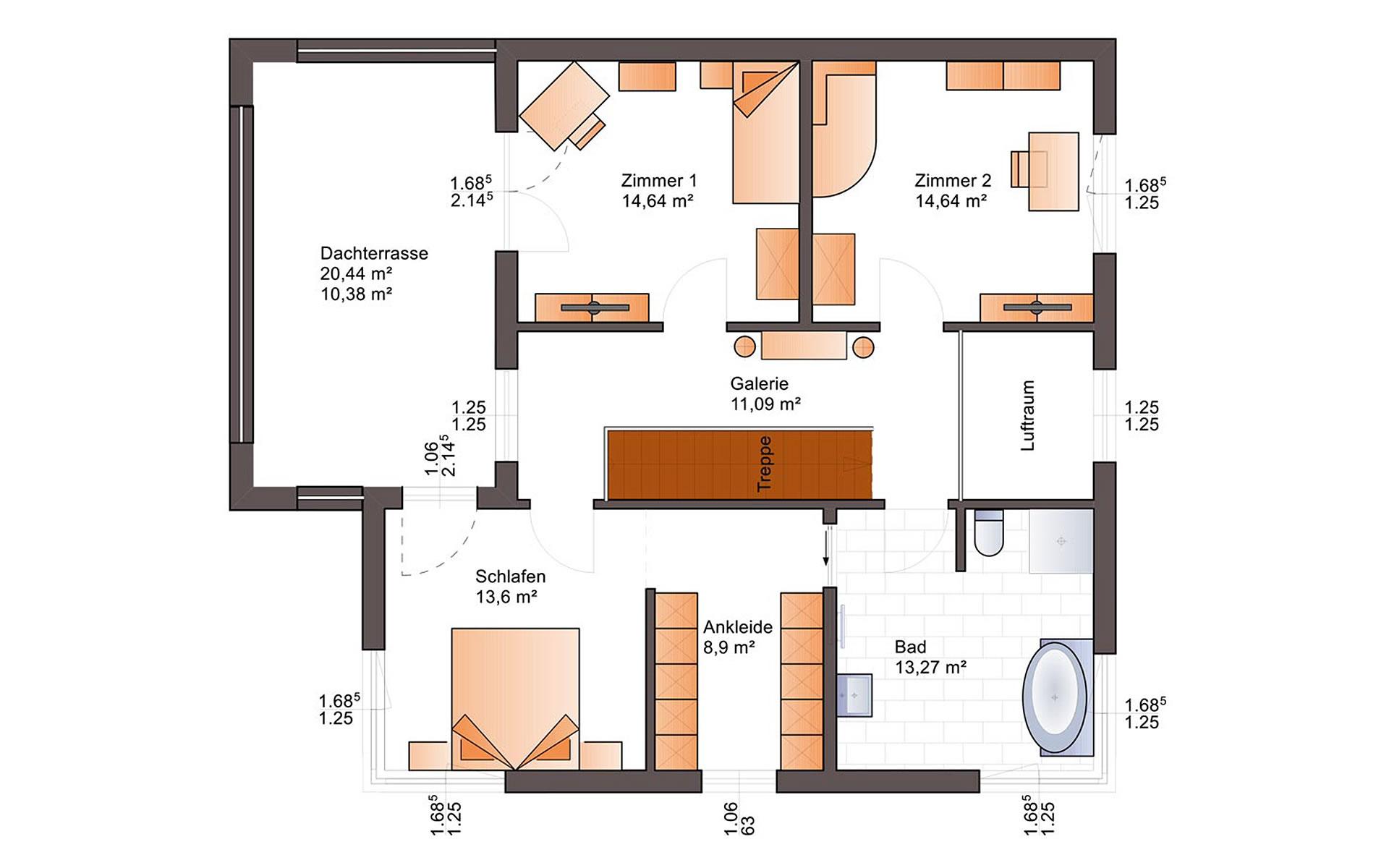 Obergeschoss Fine Arts 211 von Bärenhaus - das fertige Haus GmbH