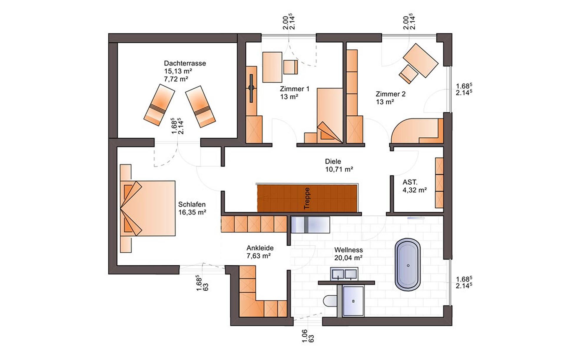 Obergeschoss Fine Arts 223 von Bärenhaus - das fertige Haus GmbH