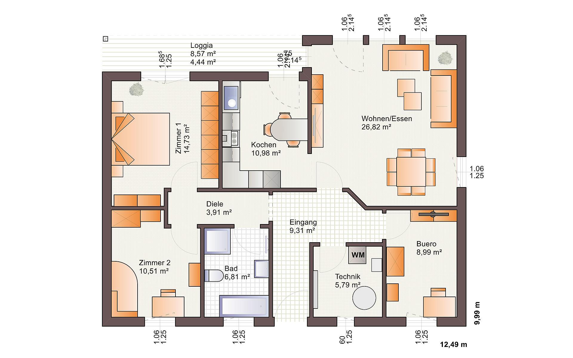 Erdgeschoss One 107 von Bärenhaus - das fertige Haus GmbH