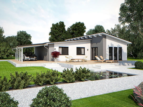 Hier z. B. das Life 110 XL Pultdach - Foto: Bau mein Haus