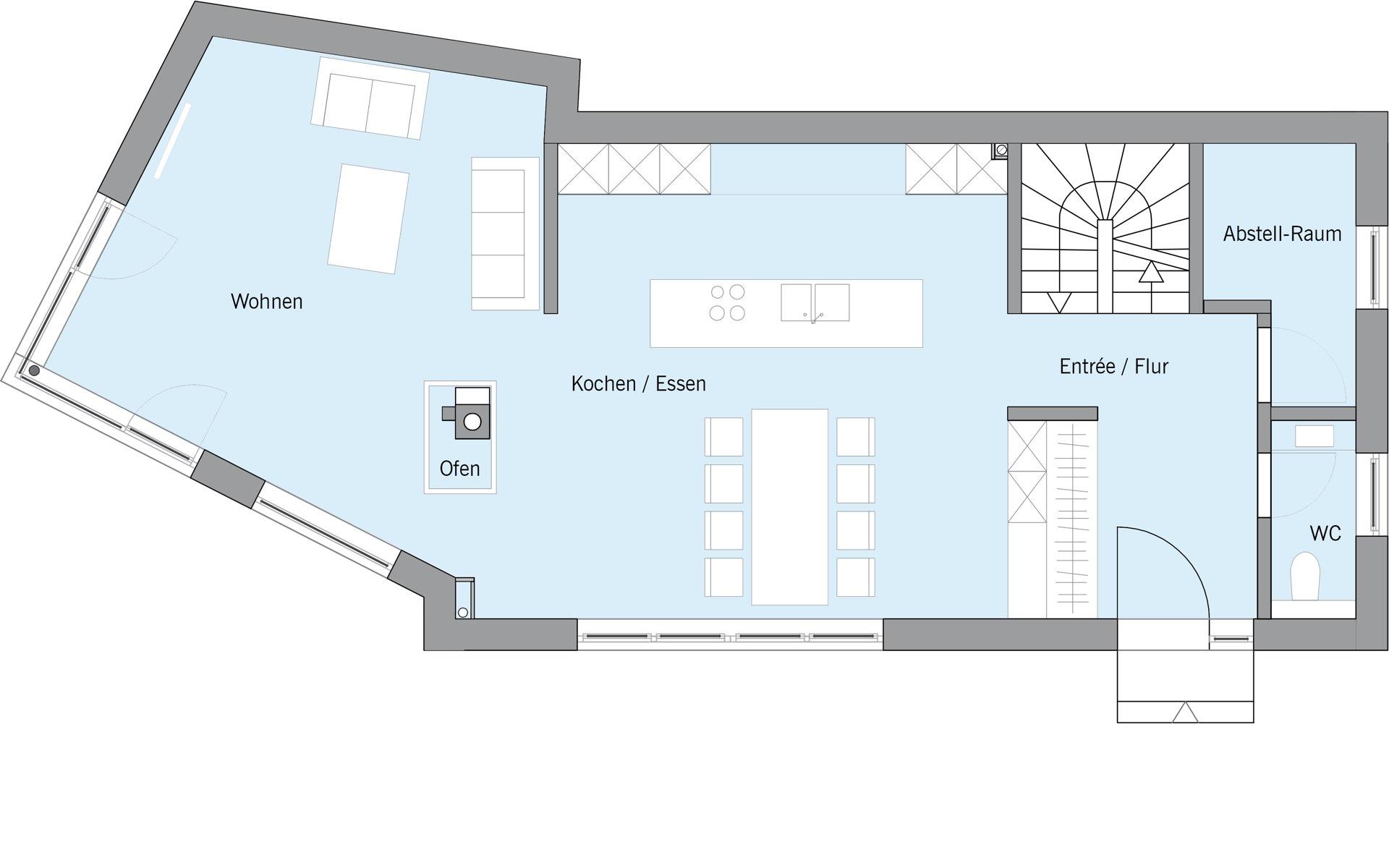 Erdgeschoss Ehrmann von Bau-Fritz GmbH & Co. KG, seit 1896