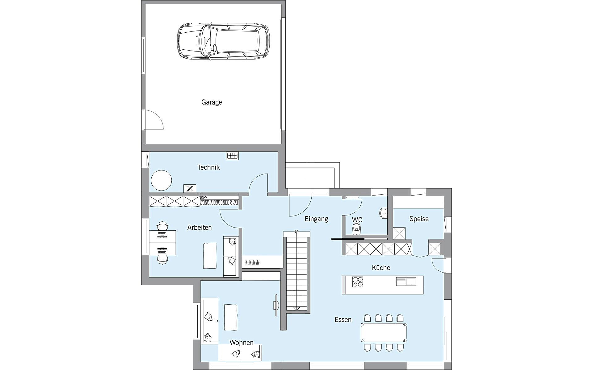 Erdgeschoss Gruber von Bau-Fritz GmbH & Co. KG, seit 1896