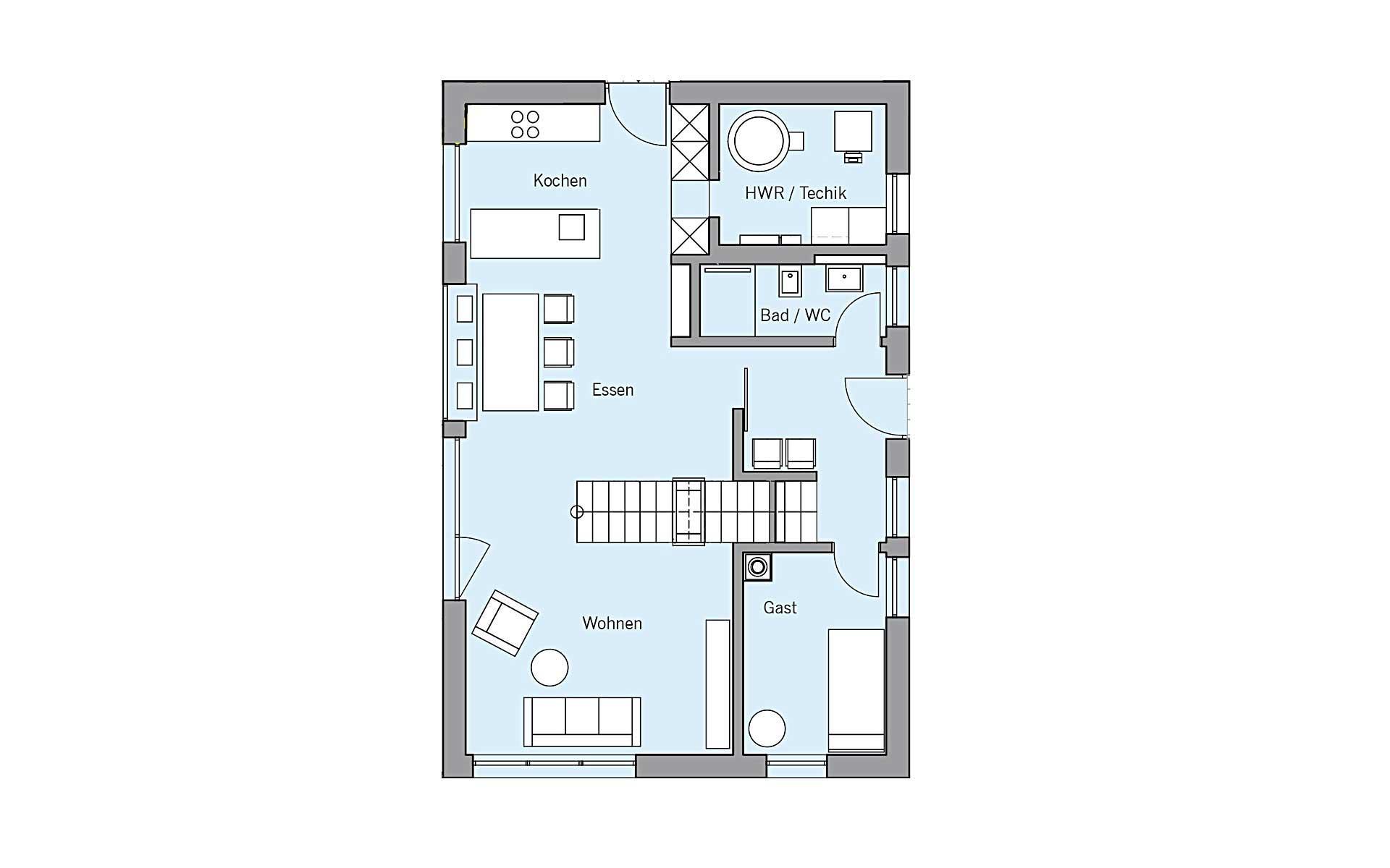 Erdgeschoss Remiger von Bau-Fritz GmbH & Co. KG, seit 1896