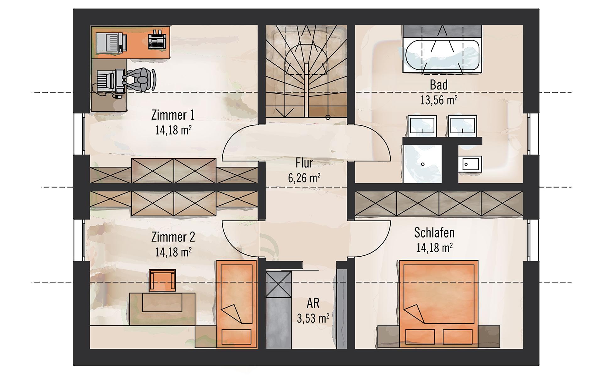 Dachgeschoss Klassisch und Fein 136 m² von Bau-Fritz GmbH & Co. KG, seit 1896