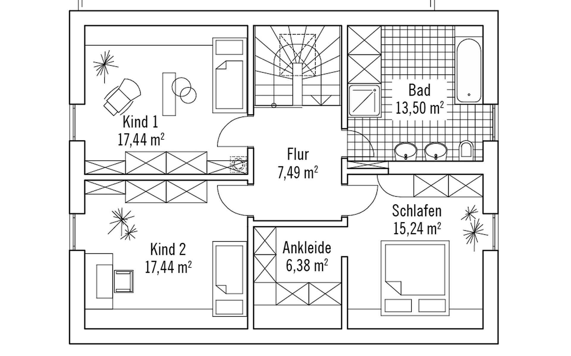 Obergeschoss Skandinavisch 155m² von Bau-Fritz GmbH & Co. KG, seit 1896