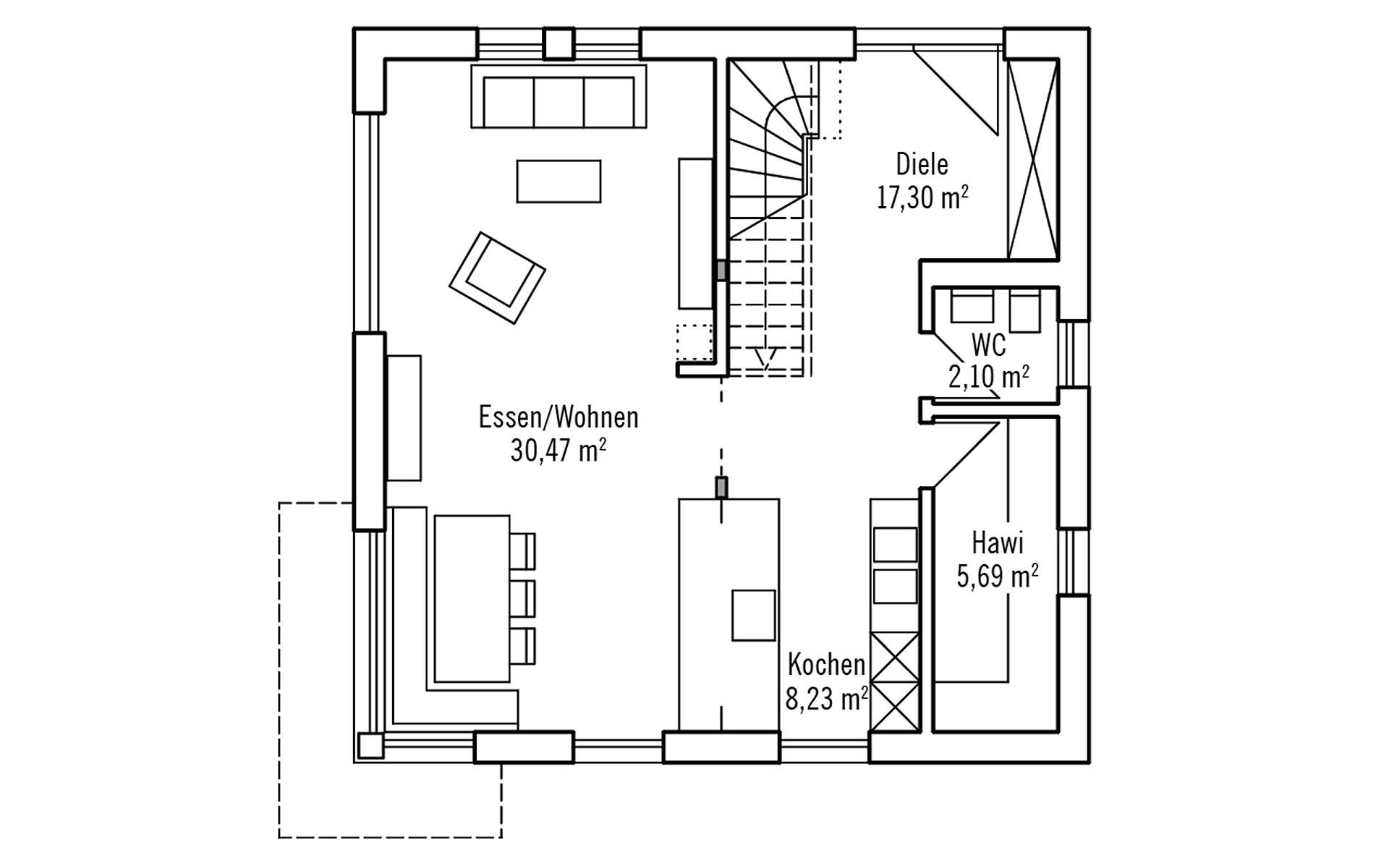 Erdgeschoss PlanMit: Klassisch & Fein von Bau-Fritz GmbH & Co. KG, seit 1896