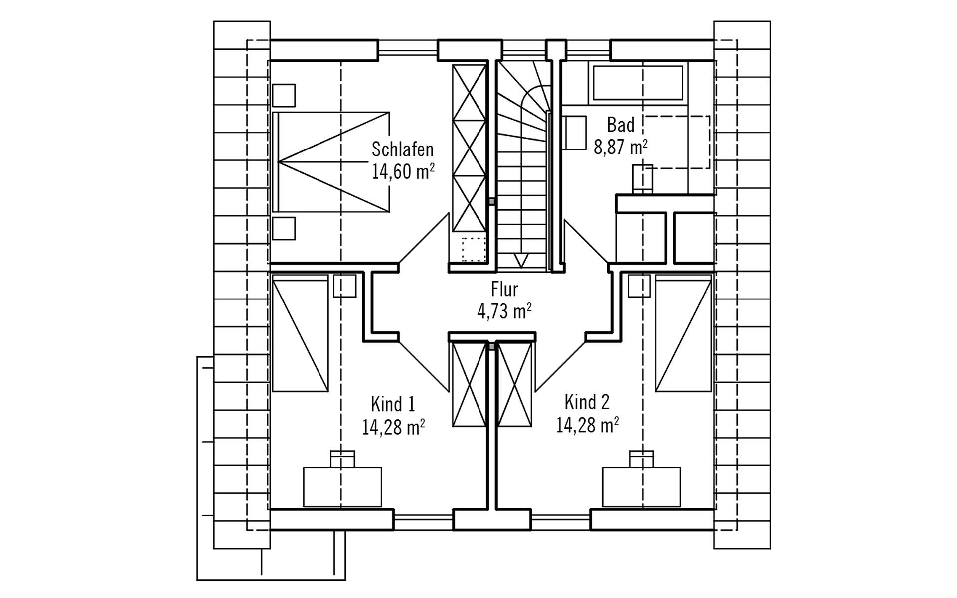 Dachgeschoss PlanMit: Klassisch & Fein von Bau-Fritz GmbH & Co. KG, seit 1896