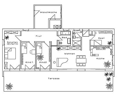 fertighaus fertigh user moderner bungalow 125 34 qm und flachdach als holztafelbau von bau. Black Bedroom Furniture Sets. Home Design Ideas