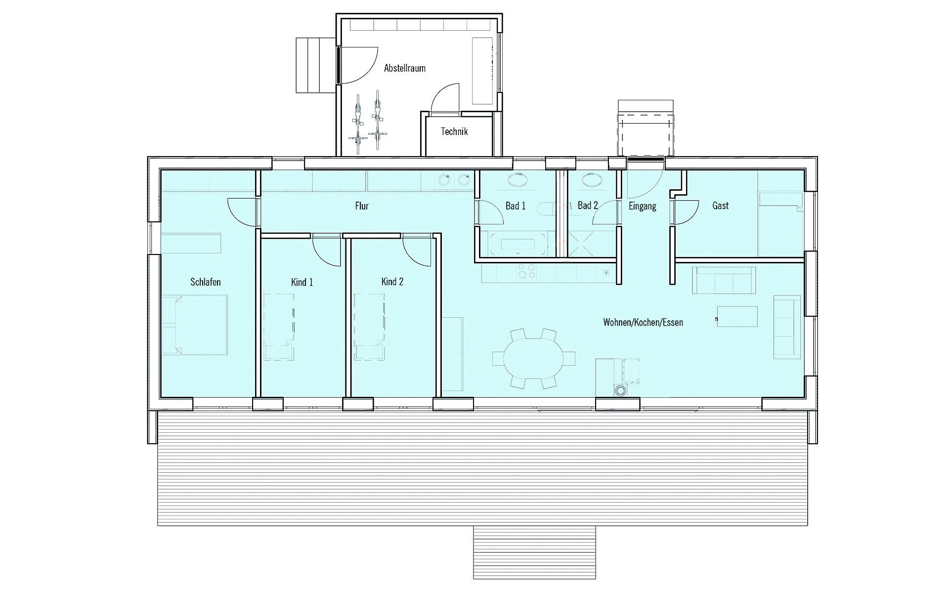 Erdgeschoss Moderner Bungalow von Bau-Fritz GmbH & Co. KG, seit 1896