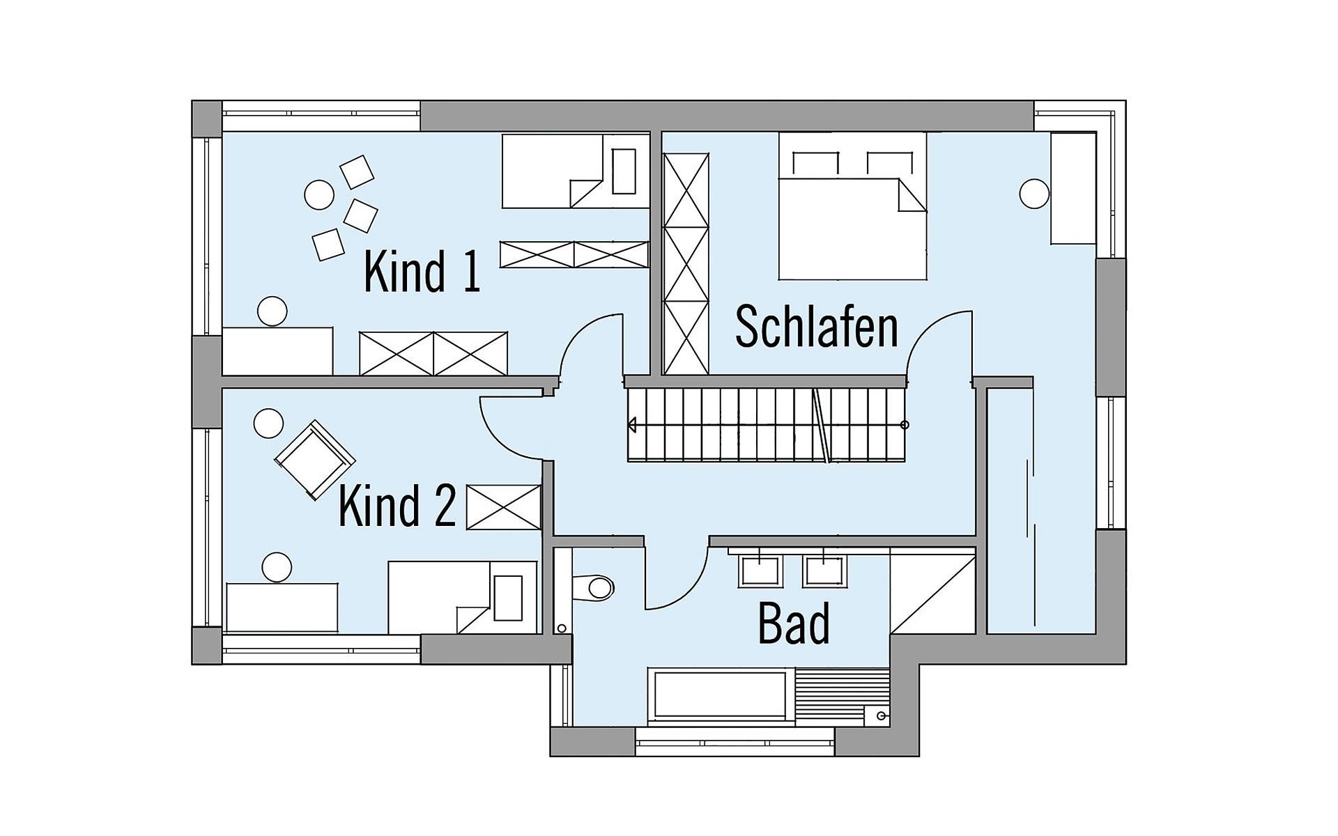 Obergeschoss Wiesenhütter von Bau-Fritz GmbH & Co. KG, seit 1896