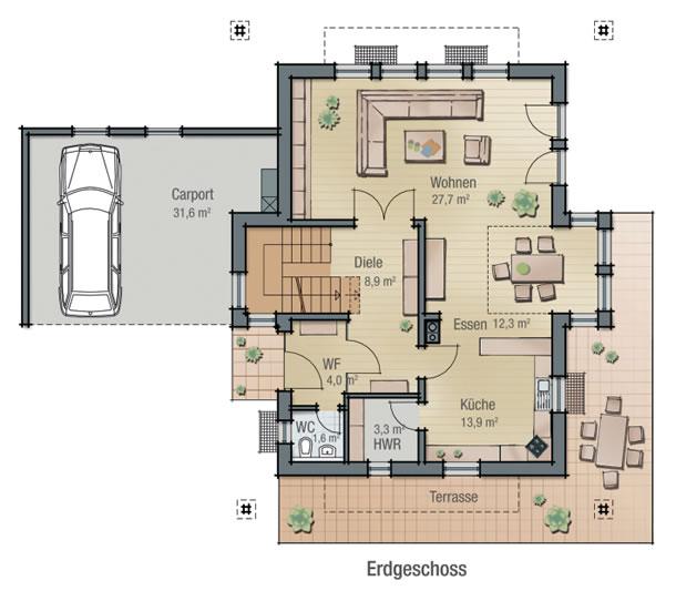 Erdgeschoss ASTER von BAVARIA Wohn- und Zweckbau GmbH