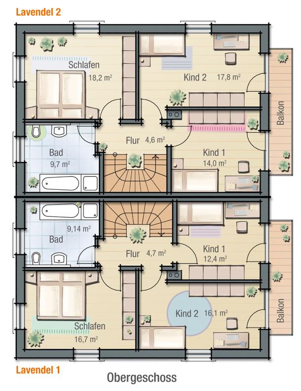 Obergeschoss LAVENDEL 1 von BAVARIA Wohn- und Zweckbau GmbH