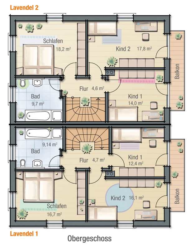Obergeschoss LAVENDEL 2 von BAVARIA Wohn- und Zweckbau GmbH