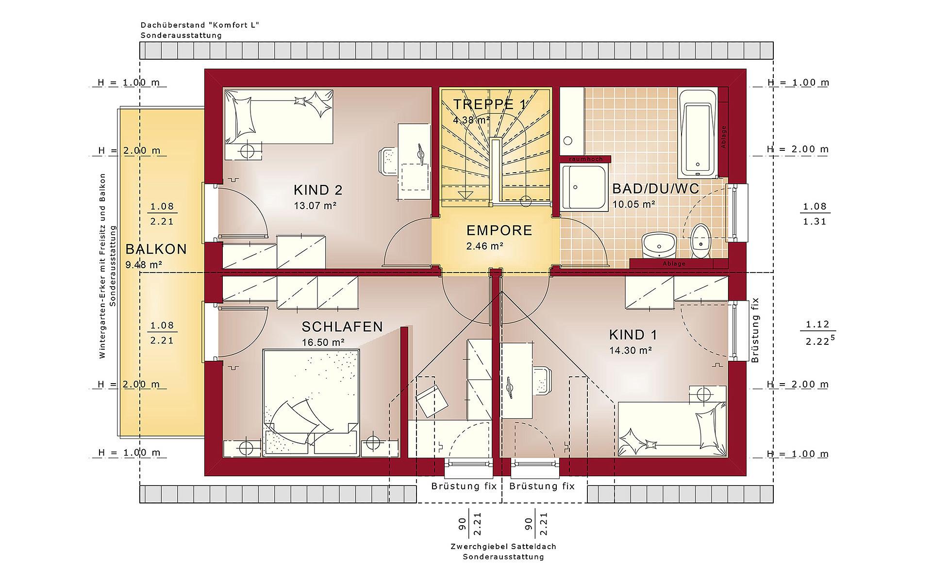 Dachgeschoss EVOLUTION 122 V10 von Bien-Zenker GmbH