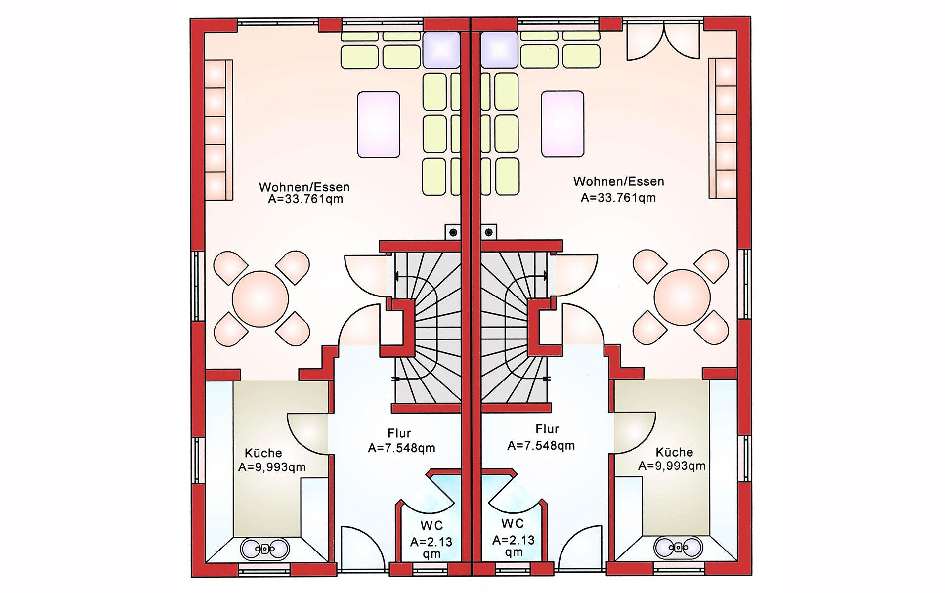 Erdgeschoss Doppelhaushälfte BS 103 von B&S Selbstbausysteme GmbH & Co. KG