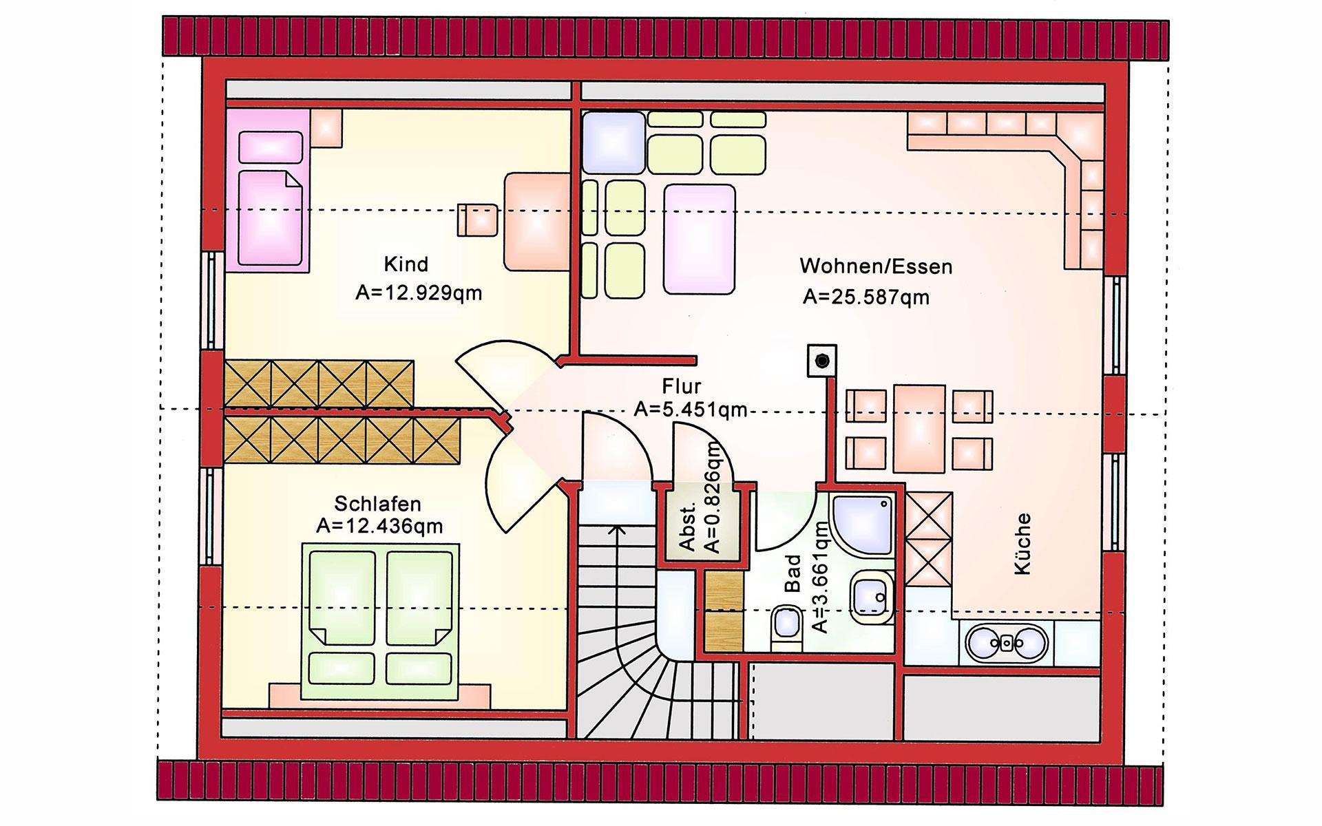 Dachgeschoss Zweifamilienhaus BS 140 von B&S Selbstbausysteme GmbH & Co. KG