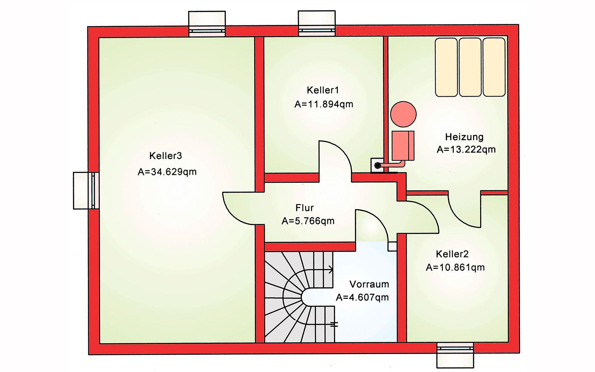 Keller Zweifamilienhaus BS 140 von B&S Selbstbausysteme GmbH & Co. KG