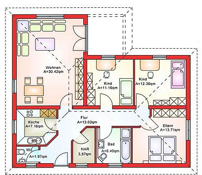 Erdgeschoss Bungalow BS 80 von B&S Selbstbausysteme GmbH & Co. KG