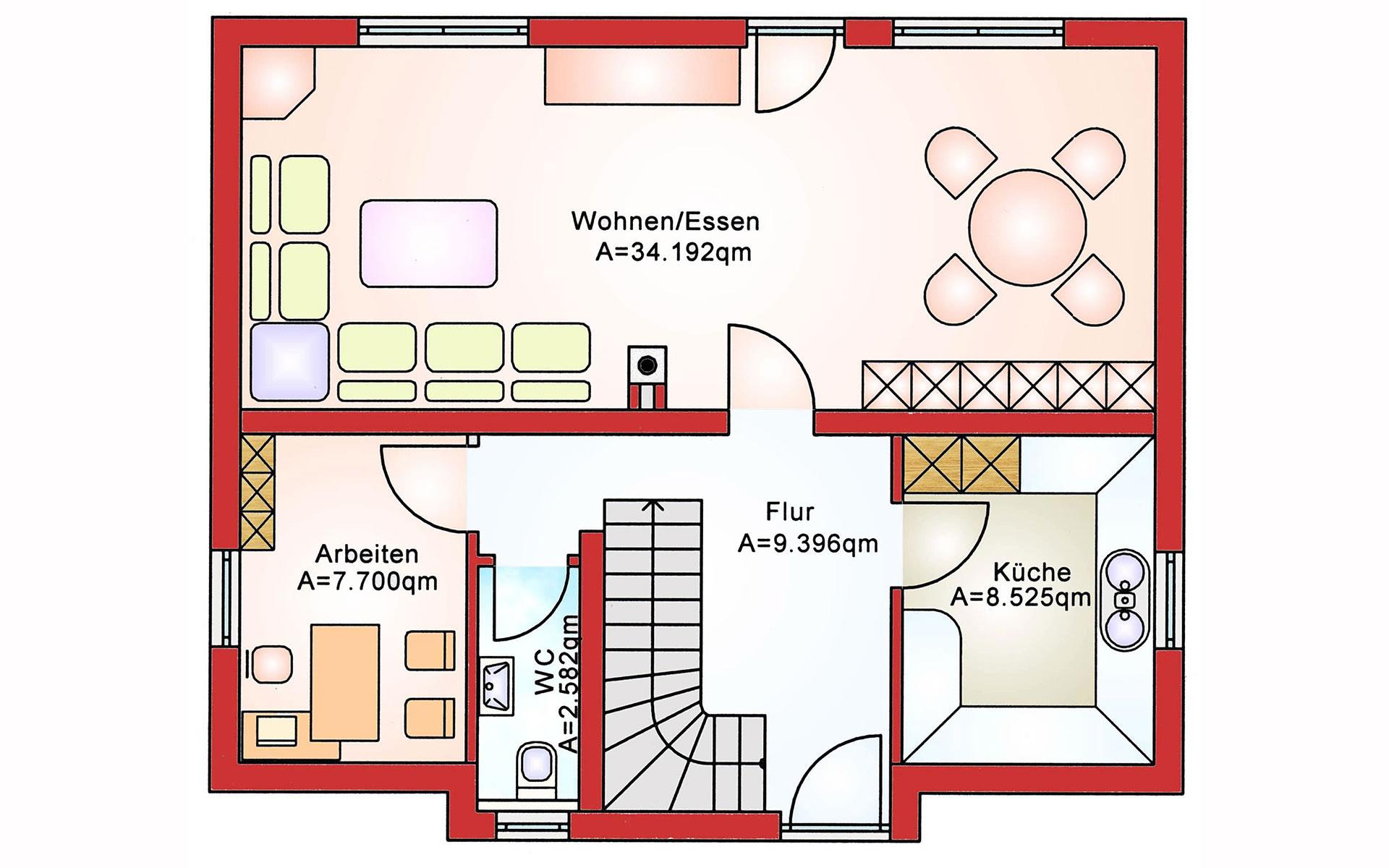 Erdgeschoss Einfamilienhaus BS 107 von B&S Selbstbausysteme GmbH & Co. KG