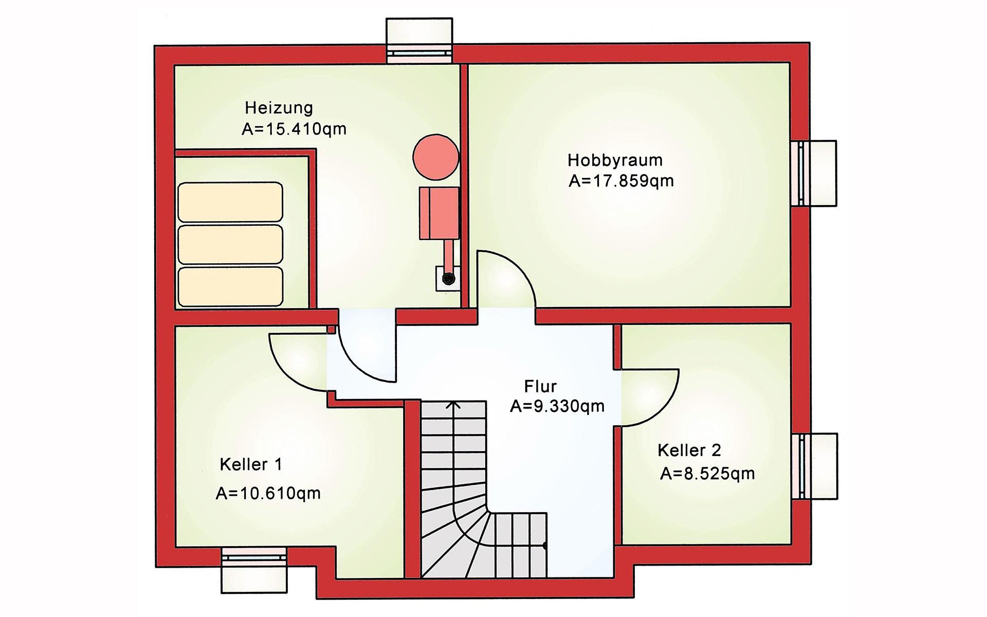 Keller Einfamilienhaus BS 107 von B&S Selbstbausysteme GmbH & Co. KG