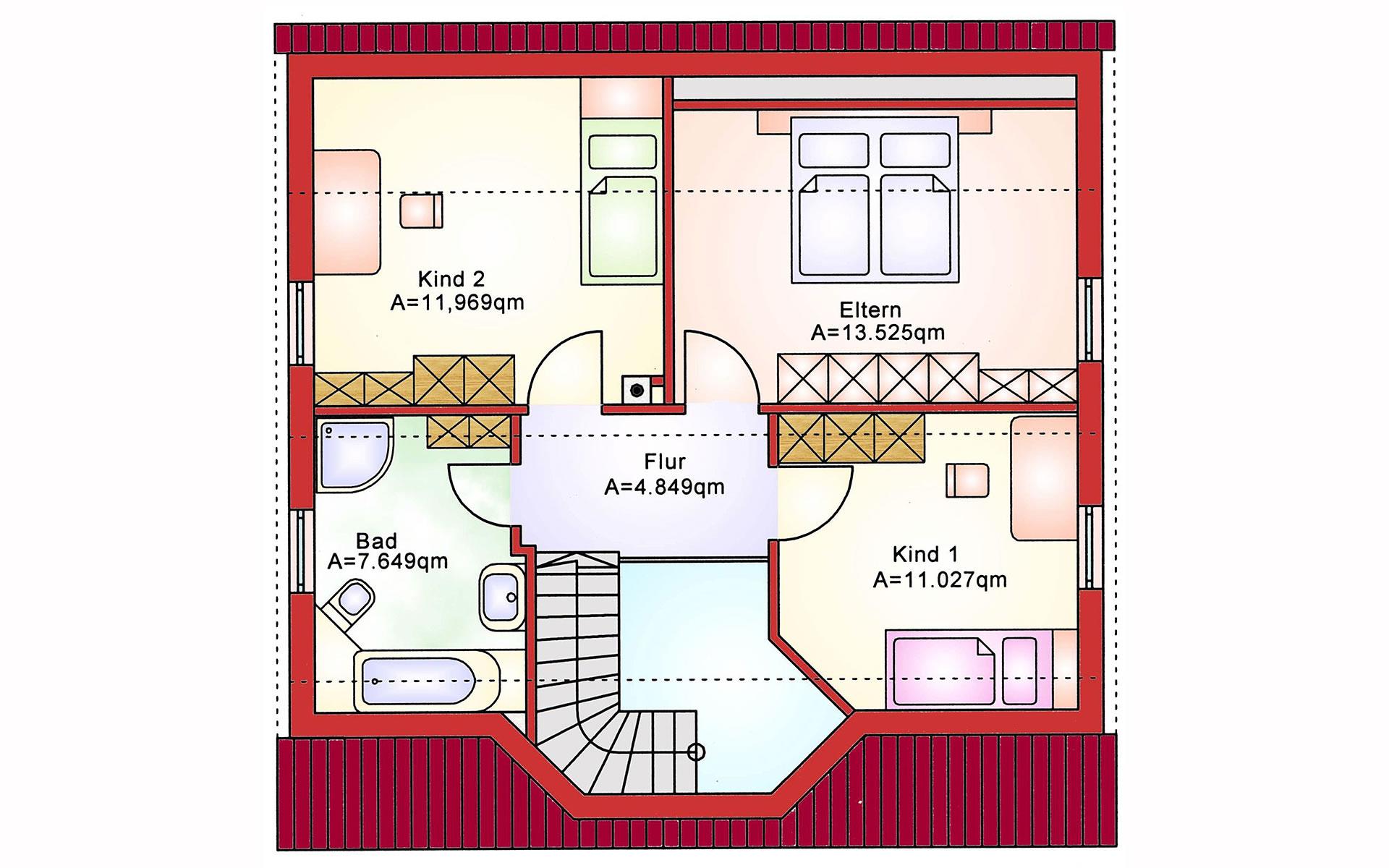 Dachgeschoss Einfamilienhaus BS 112 von B&S Selbstbausysteme GmbH & Co. KG