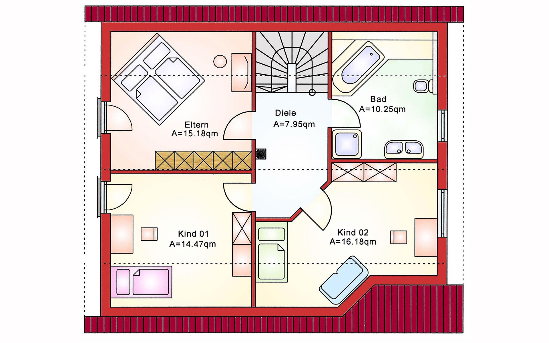 Dachgeschoss Einfamilienhaus BS 129 von B&S Selbstbausysteme GmbH & Co. KG