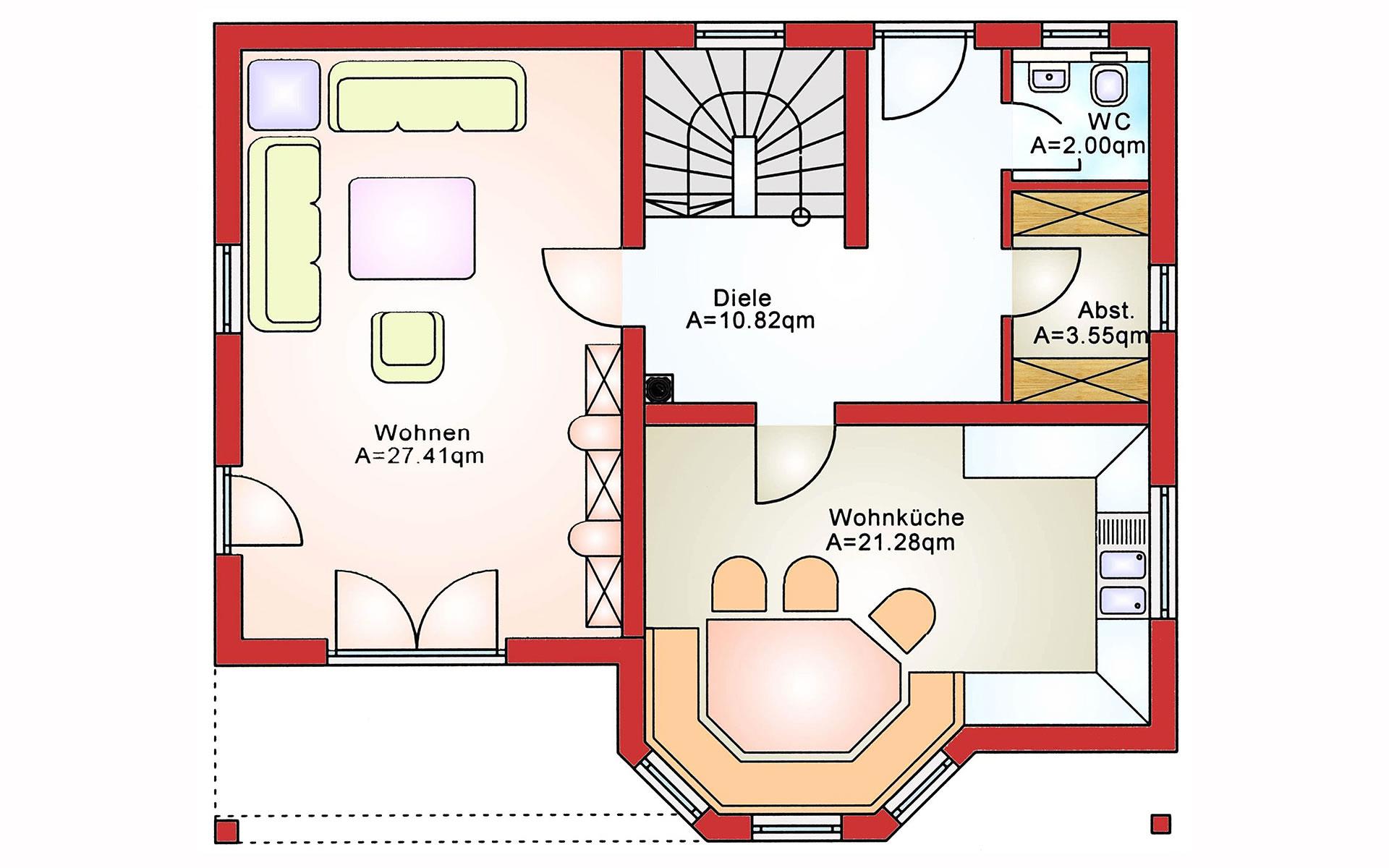 Erdgeschoss Einfamilienhaus BS 129 von B&S Selbstbausysteme GmbH & Co. KG