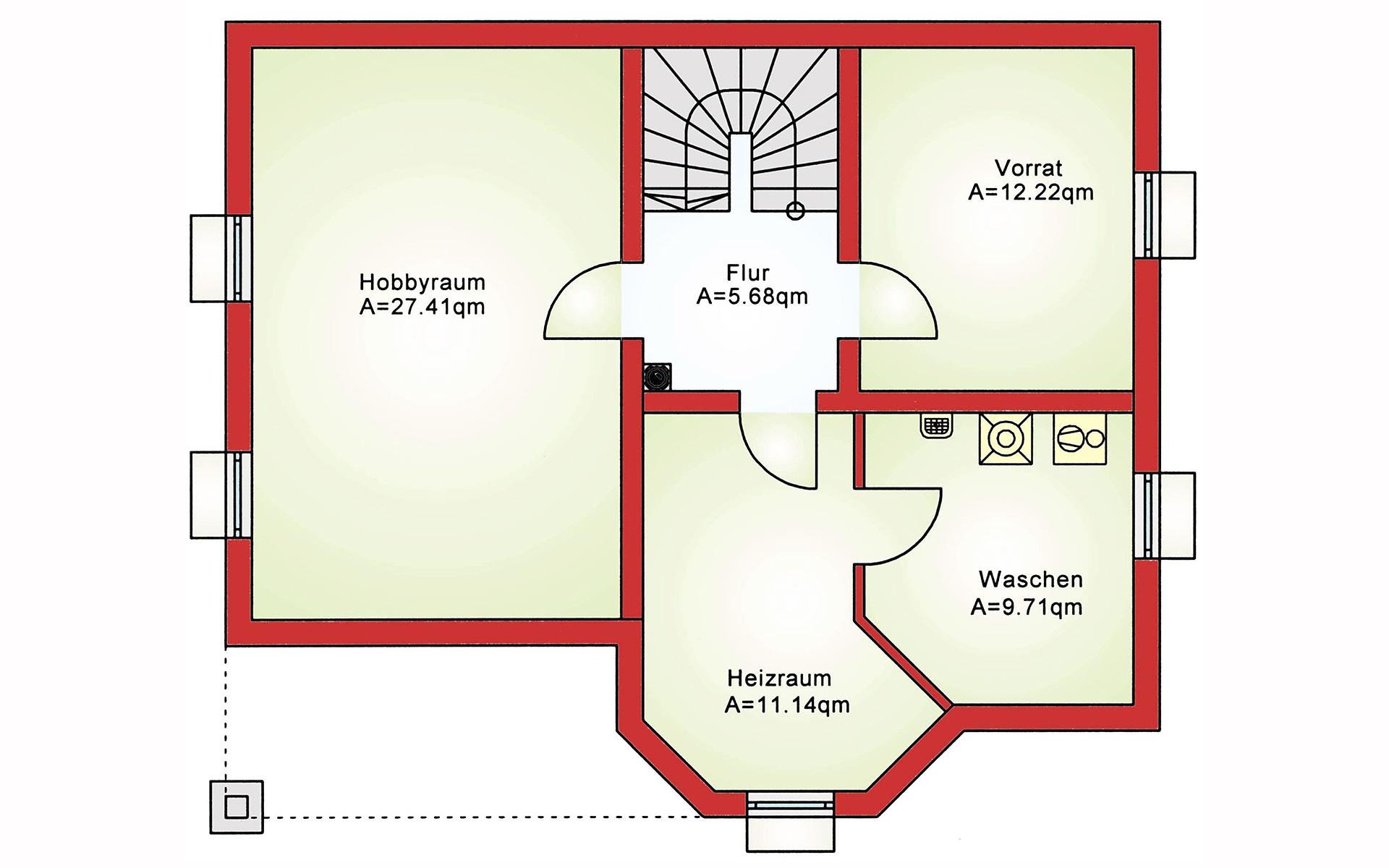 Keller Einfamilienhaus BS 129 von B&S Selbstbausysteme GmbH & Co. KG