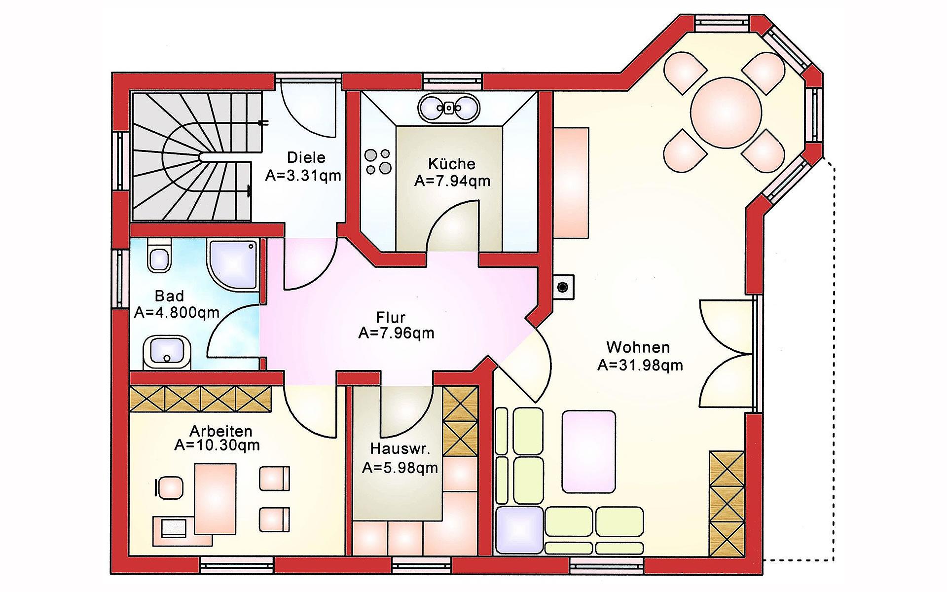Erdgeschoss Einfamilienhaus BS 134 von B&S Selbstbausysteme GmbH & Co. KG