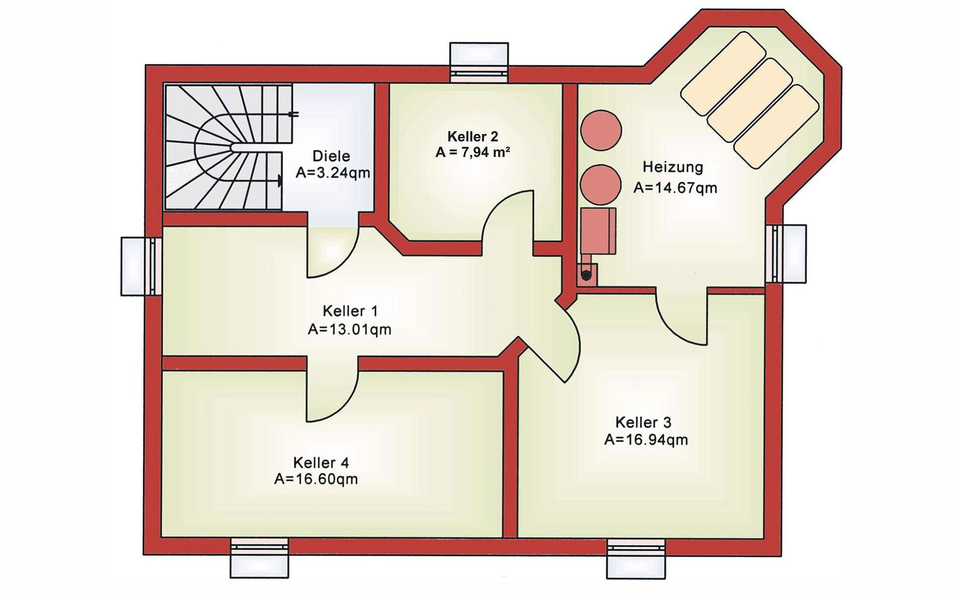 Keller Einfamilienhaus BS 134 von B&S Selbstbausysteme GmbH & Co. KG
