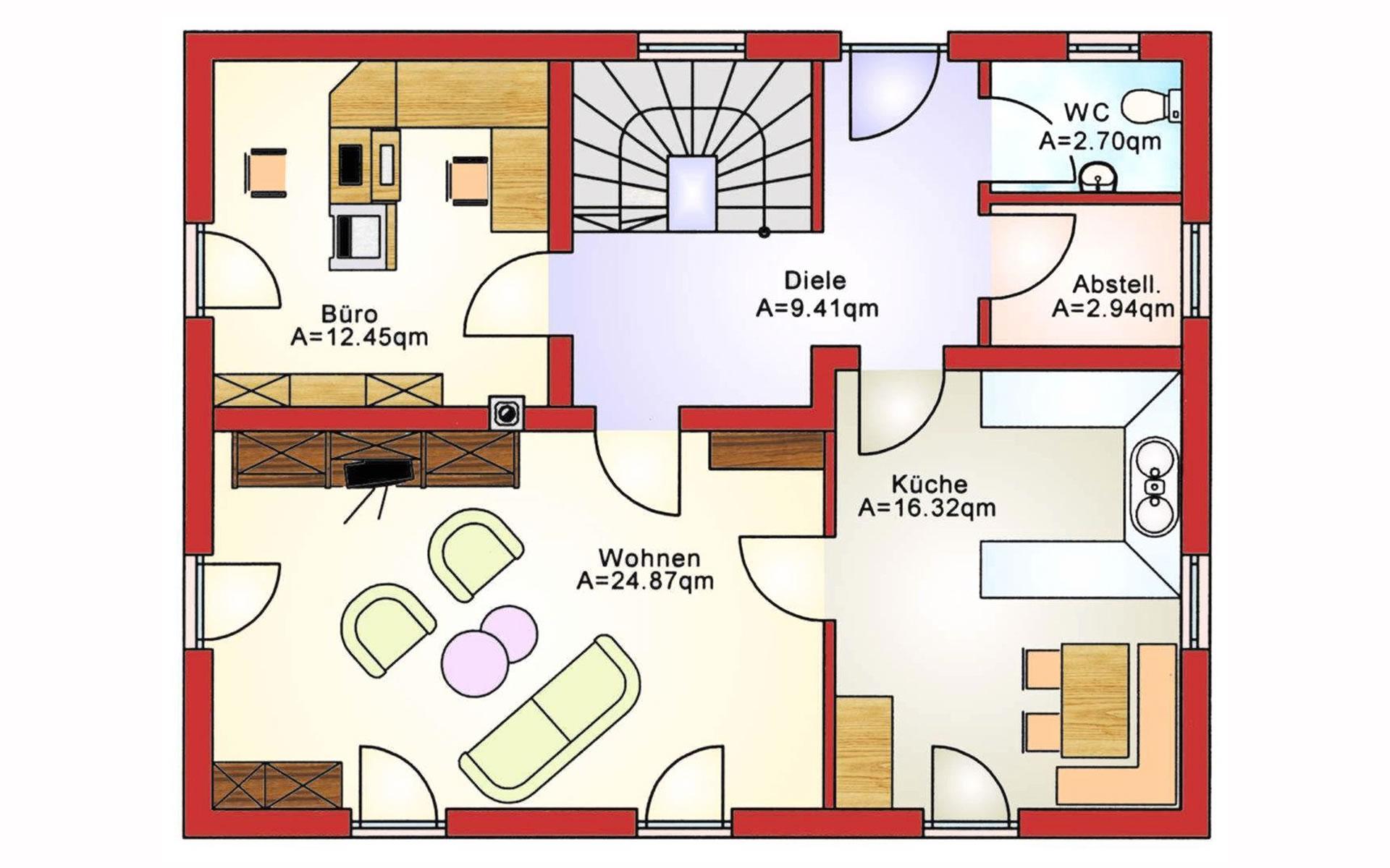 Erdgeschoss Einfamilienhaus BS 138 von B&S Selbstbausysteme GmbH & Co. KG