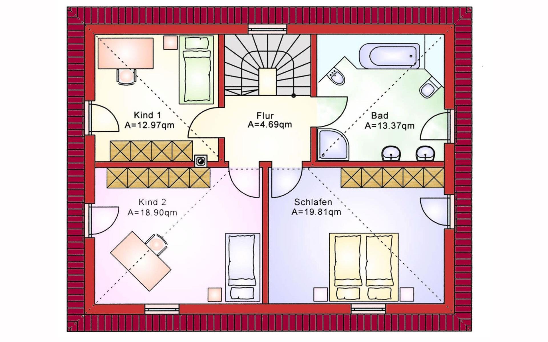 Obergeschoss Einfamilienhaus BS 138 von B&S Selbstbausysteme GmbH & Co. KG