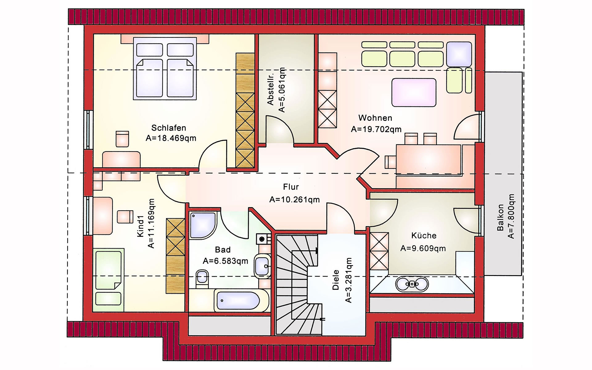 Dachgeschoss Zweifamilienhaus BS 181 von B&S Selbstbausysteme GmbH & Co. KG