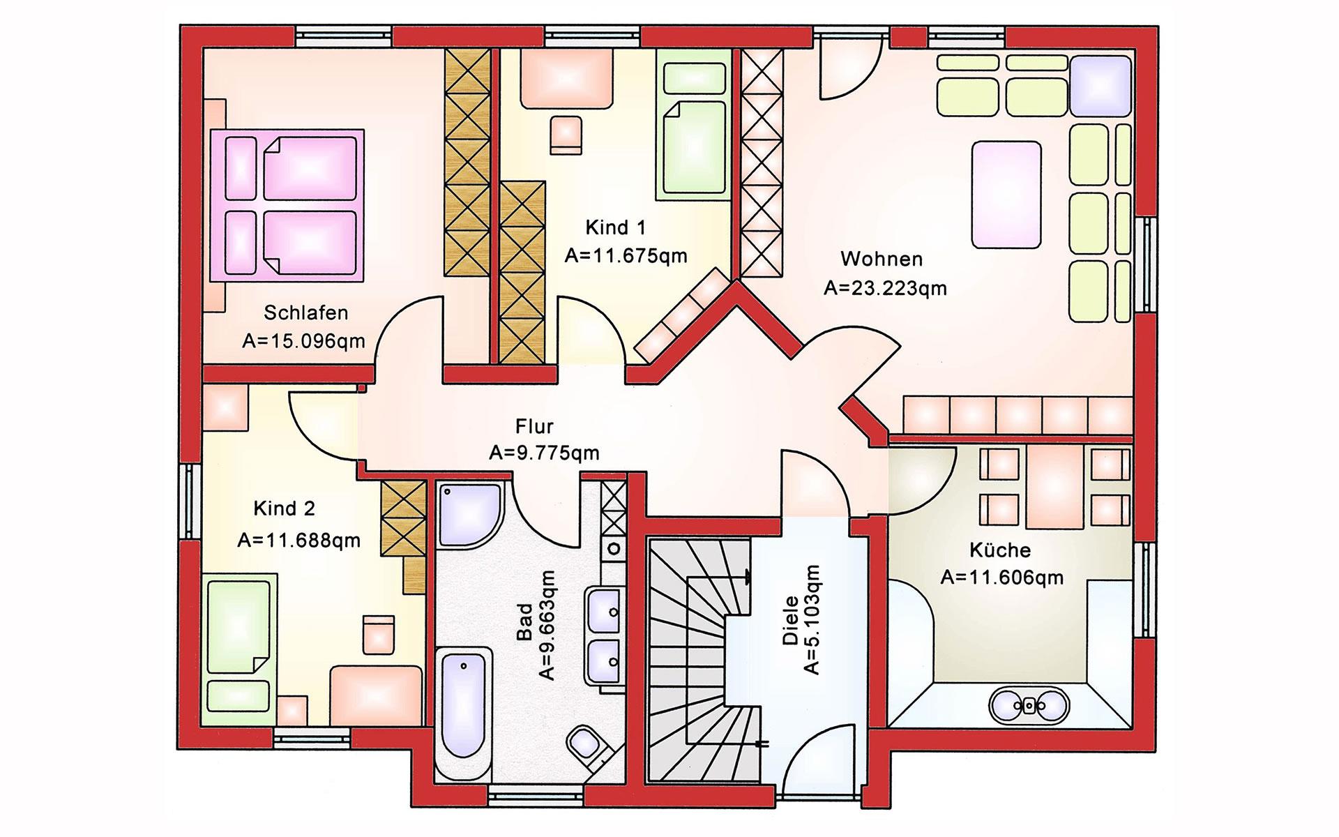 Erdgeschoss Zweifamilienhaus BS 181 von B&S Selbstbausysteme GmbH & Co. KG