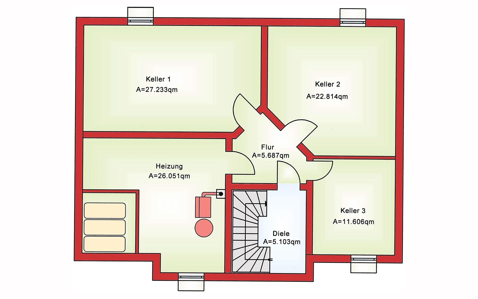 Keller Zweifamilienhaus BS 181 von B&S Selbstbausysteme GmbH & Co. KG