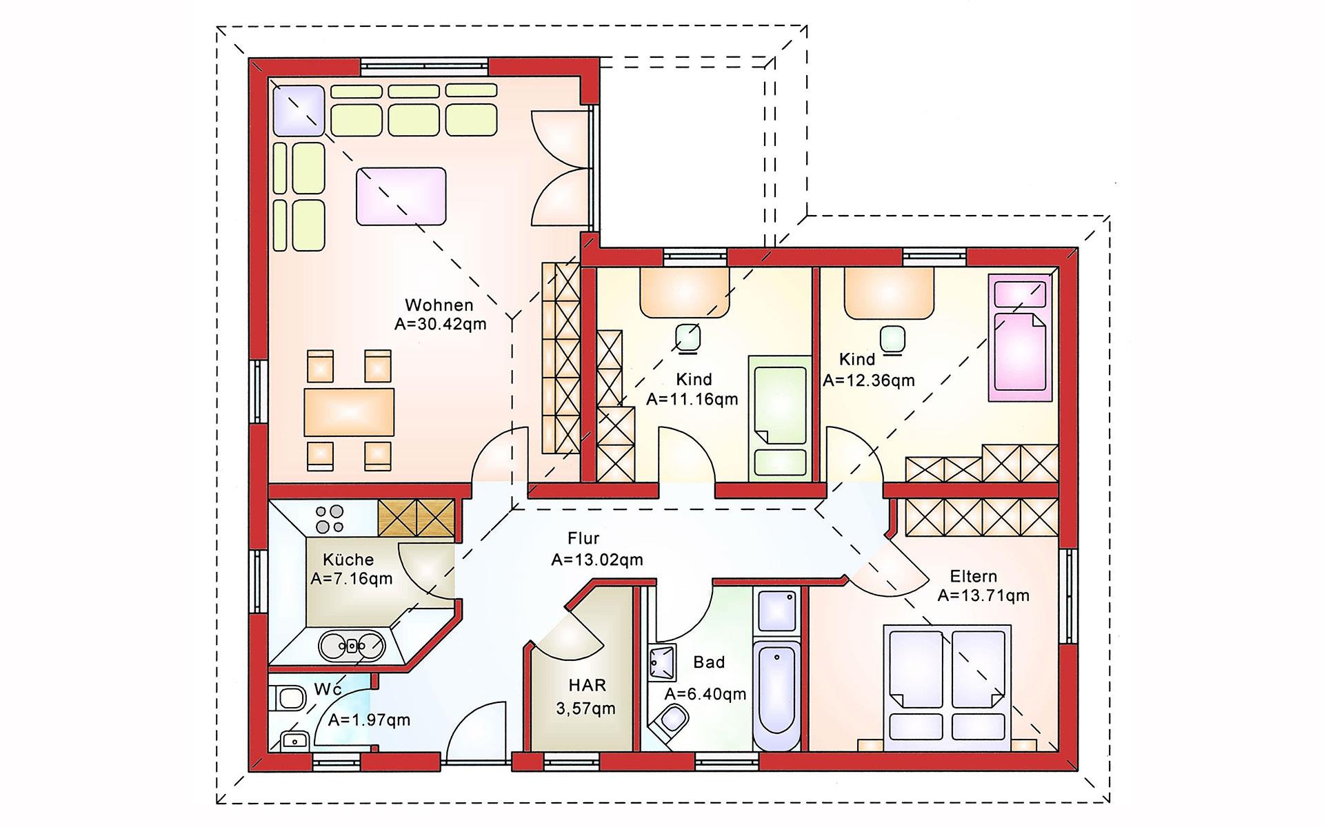 Erdgeschoss Bungalow BS 100 von B&S Selbstbausysteme GmbH & Co. KG
