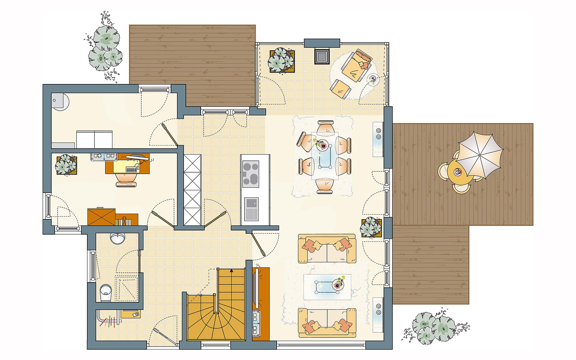 Erdgeschoss Frei geplant - FLAIRplus - Musterhaus Marburg von FingerHaus GmbH