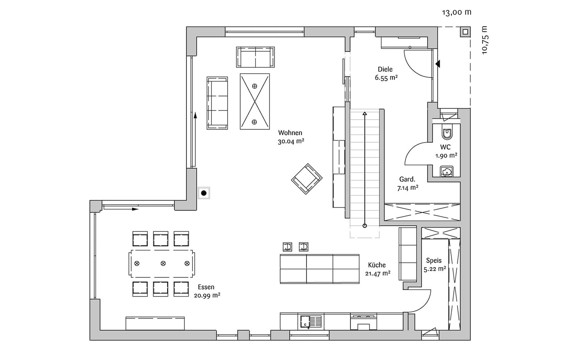 Erdgeschoss Bauhaus 190 von FischerHaus GmbH & Co. KG